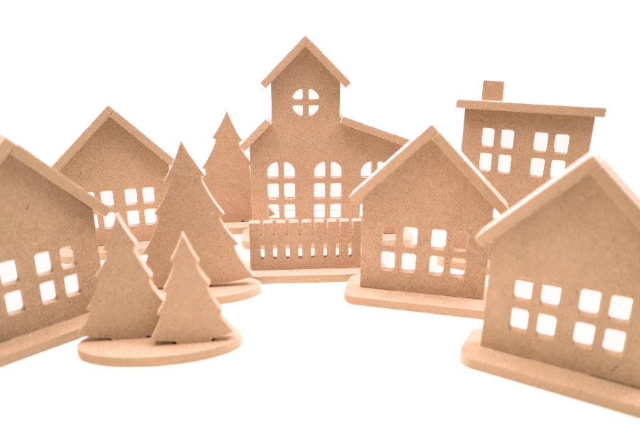 Paintable wooden Christmas village